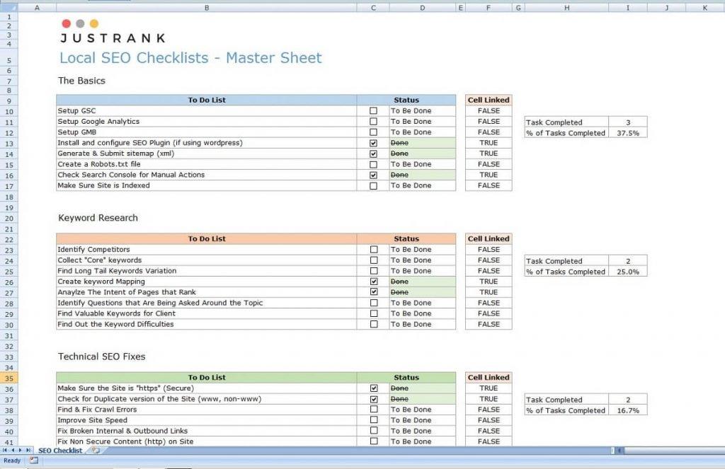 JustRank's SEO Checklist - Download for Free