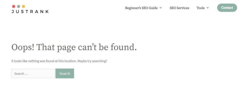 404 error on page