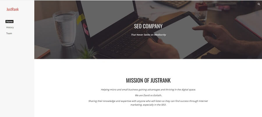 JustRank Free Google Sites Example