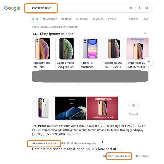 Google SERP Featured Snippet