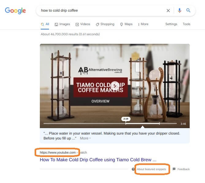 Video have a higher chance appeared as featured snippets for some queries